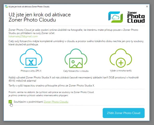 Zálohování fotek do cloudu: aktivace Zoner Photo Cloudu.
