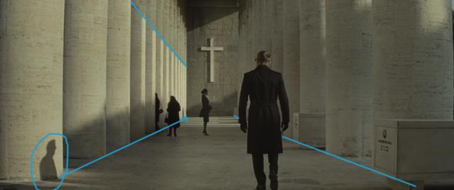 Kompozice ve fotografii a ve filmu: stín v kombinaci s liniemi ve filmu Spectre - nákres.