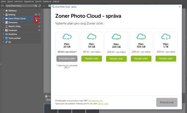 Zálohování fotek do cloudu: navýšení kapacity.
