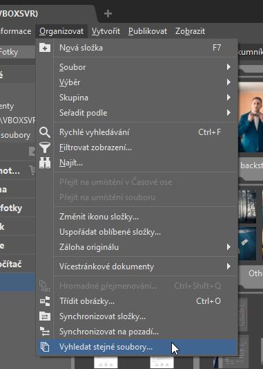 Jak najít a smazat duplicitní fotky: funkce Vyhledat stejné soubory.