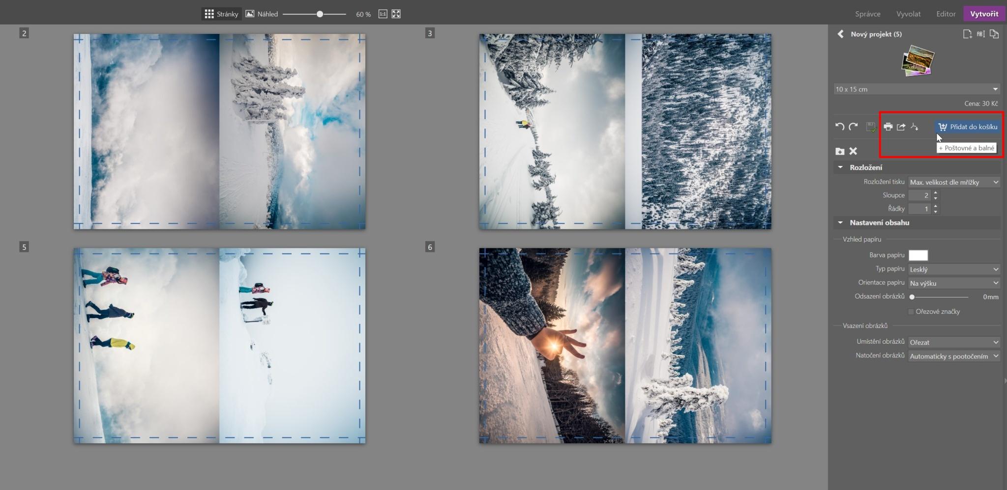 Více fotek na jeden papír - tisk fotek