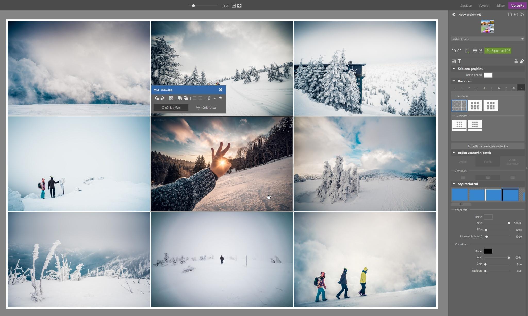 Tisk více fotek na jeden papír - Koláž