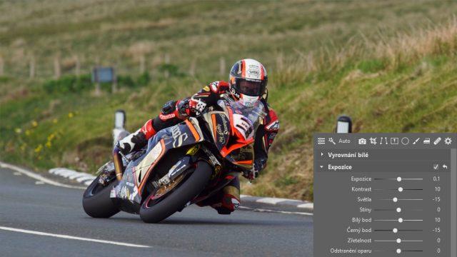 Jak upravit fotky z motocyklových závodů: úprava expozice.