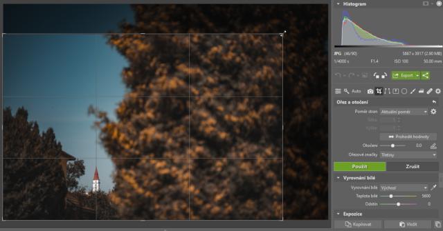 Ořezávání fotek: oříznutí fotografie pro vylepšení kompozice snímku.