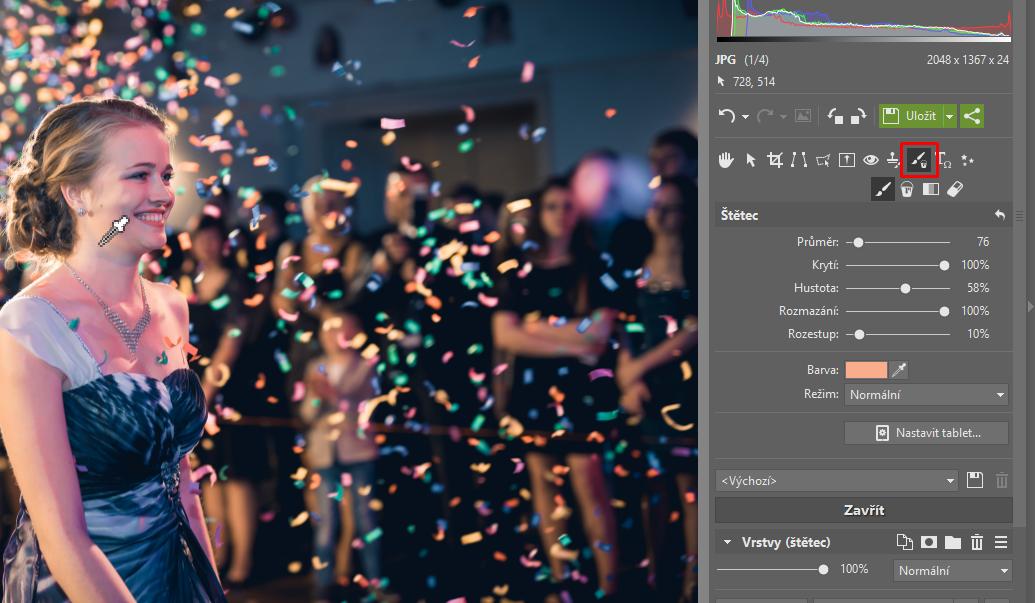 Jak opravit barvu pleti na fotkách? - štětec