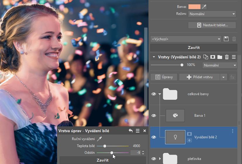 Jak opravit barvu pleti na fotkách? - vyvážení