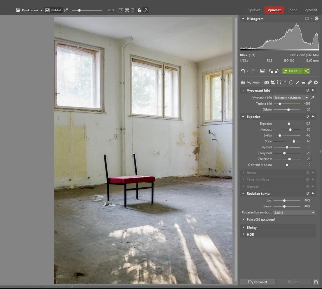 Urbex: dodejte fotkám atmosféru - pracovní postup 1