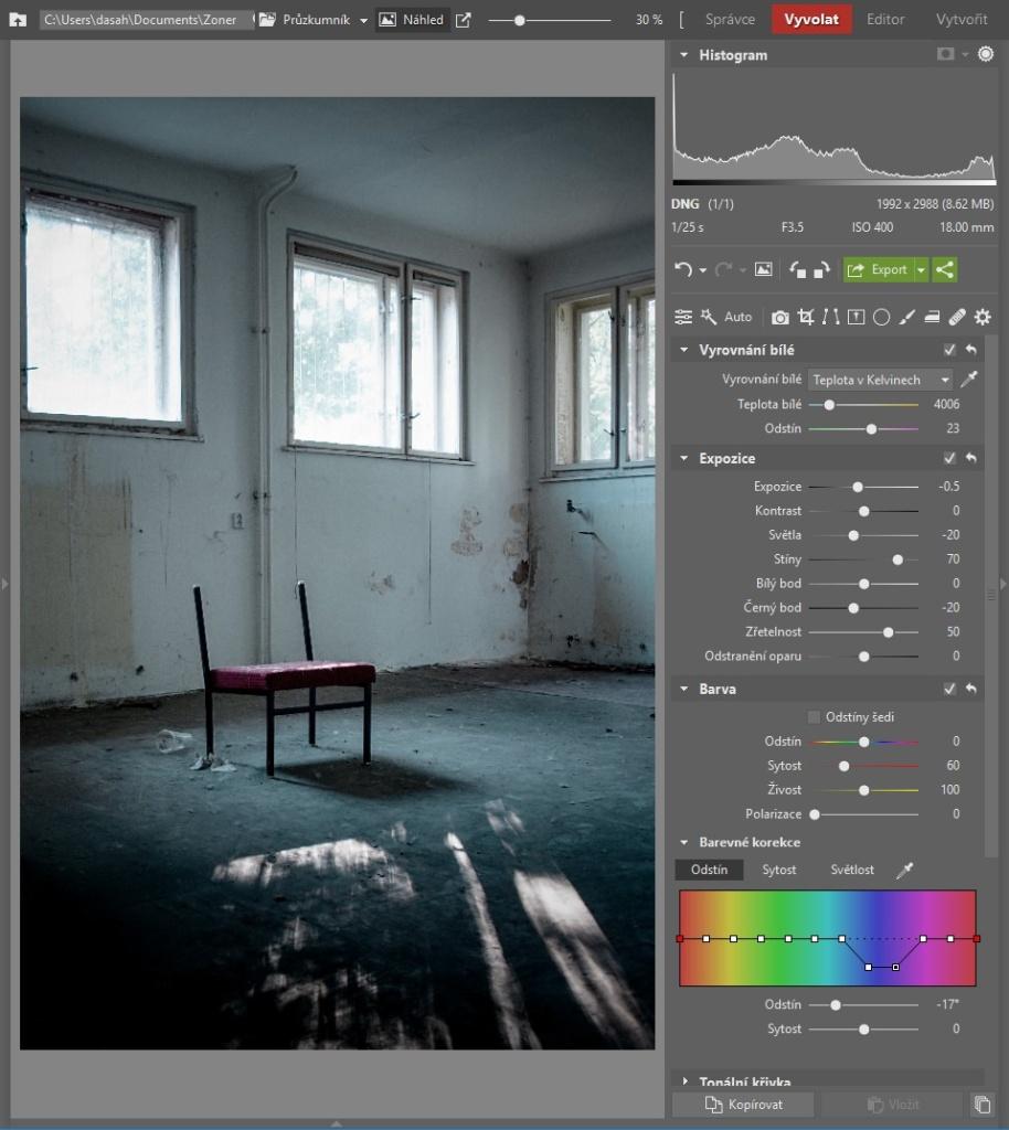 Urbex: dodejte fotkám atmosféru - pracovní postup 3