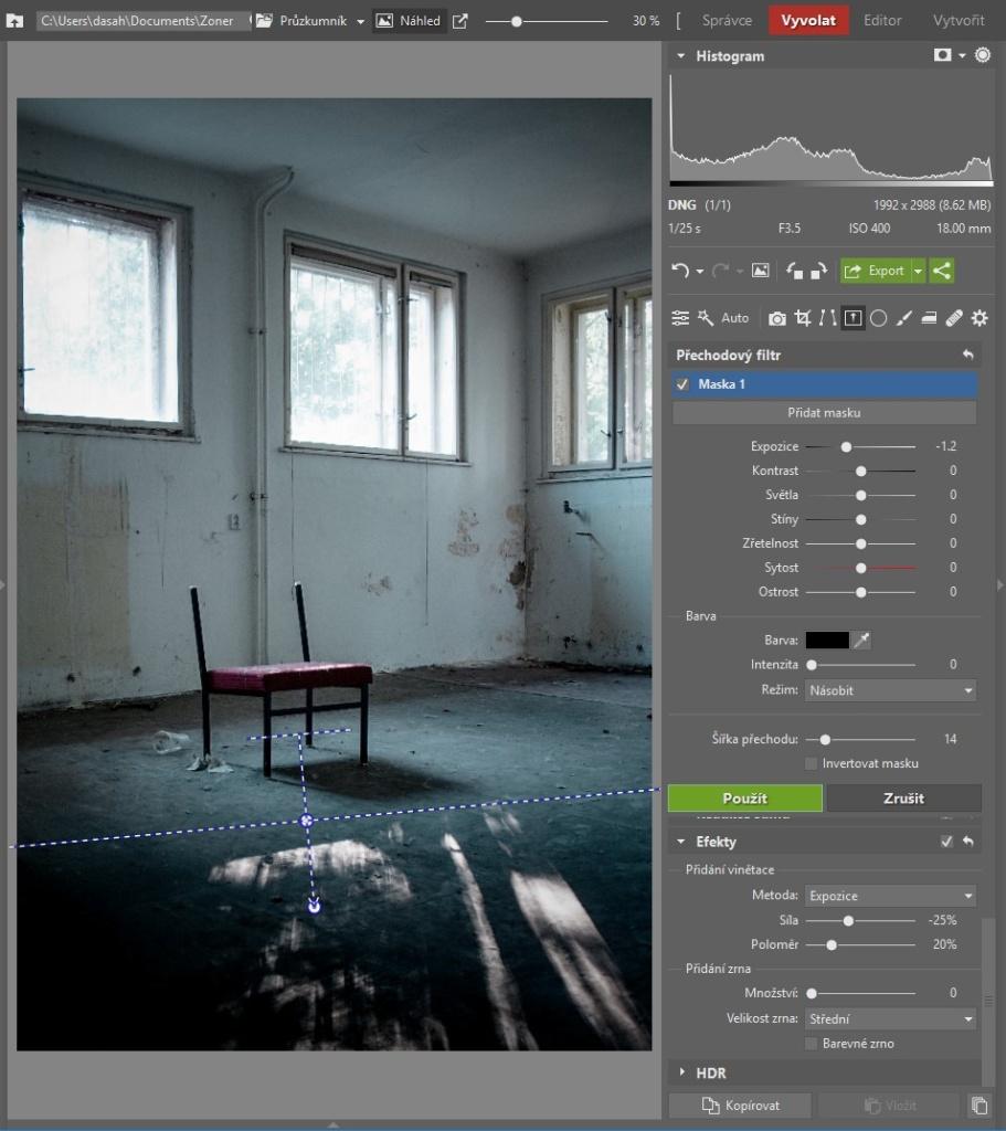 Urbex: dodejte fotkám atmosféru - pracovní postup 2