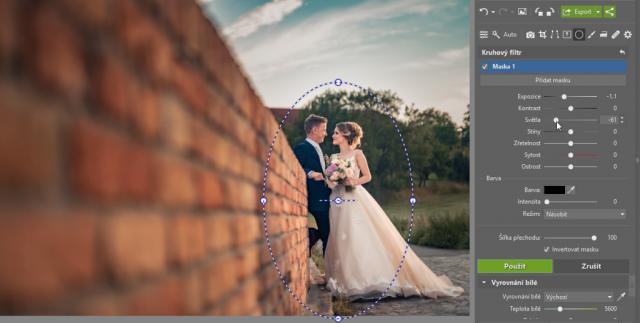 Jak upravit pozadí fotek: ztmavení Kruhovým filtrem.