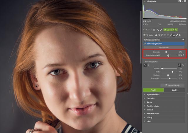 Retuš portrétů: nastavení parametrů Vyhlazovacího štětce.