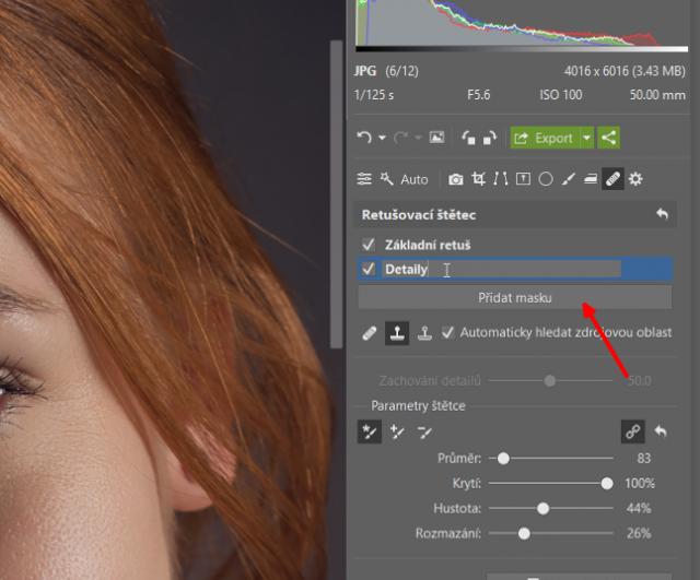 Retuš portrétů: přidání nové masky.