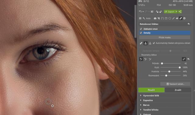Retuš portrétů: detailní retuš.