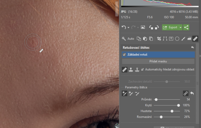 Retuš portrétů: retušovací štětec.