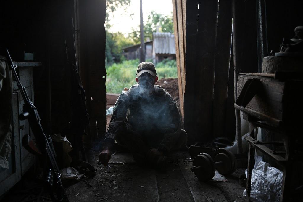 Pavel Nasadil fotil boje na Ukrajině - pozice ukrajinské armády
