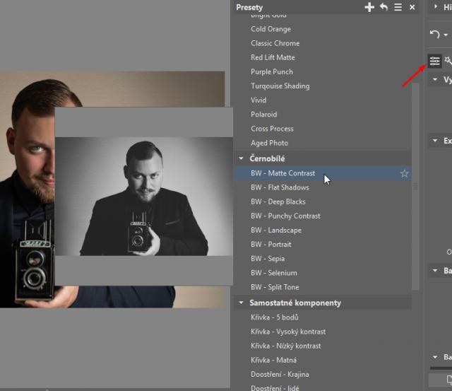 Jak dodat fotkám starý vzhled: černobílé presety.