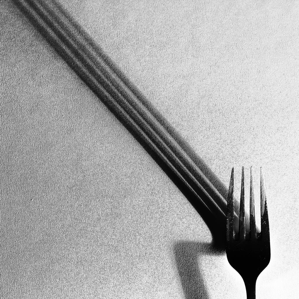 Focení zátiší - vidlička a stín