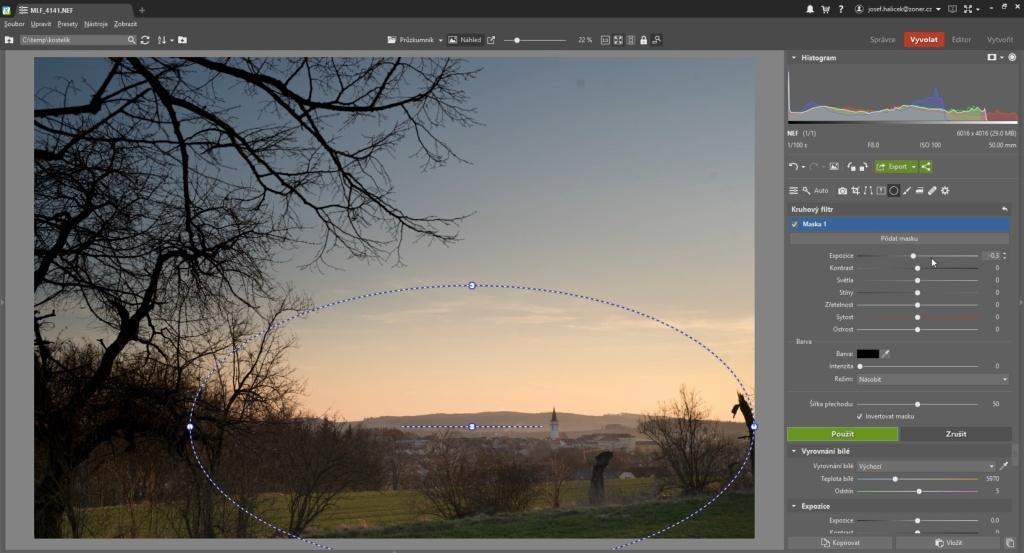 souboj úprav - kruhový filtr