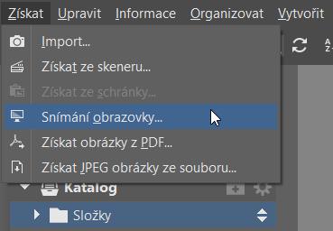 Jak vytvořit screenshoty v ZPS - menu