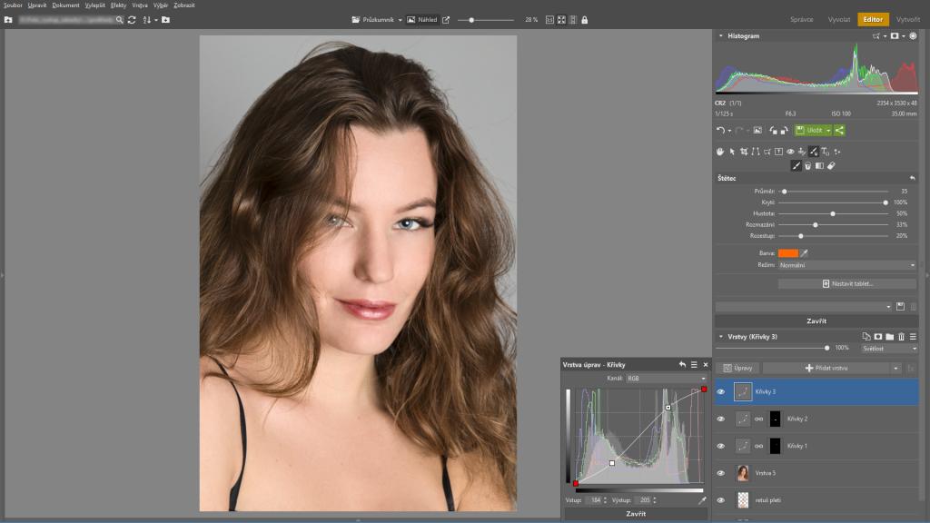 Naučte se retušovat portrét - editor kontrast