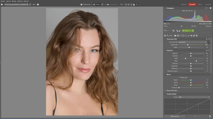 Naučte se retušovat portrét - snížení kontrastu