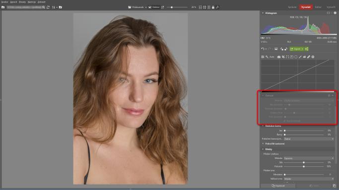 Naučte se retušovat portrét - vypnutí doostření