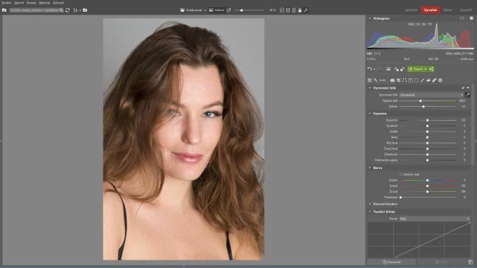 Naučte se retušovat portrét - vyrovnání bílé
