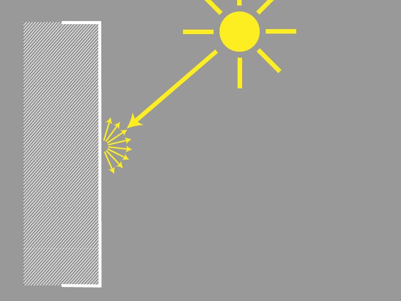 Jak srovnávat různé objektivy a snímače - odraz světla od zdi
