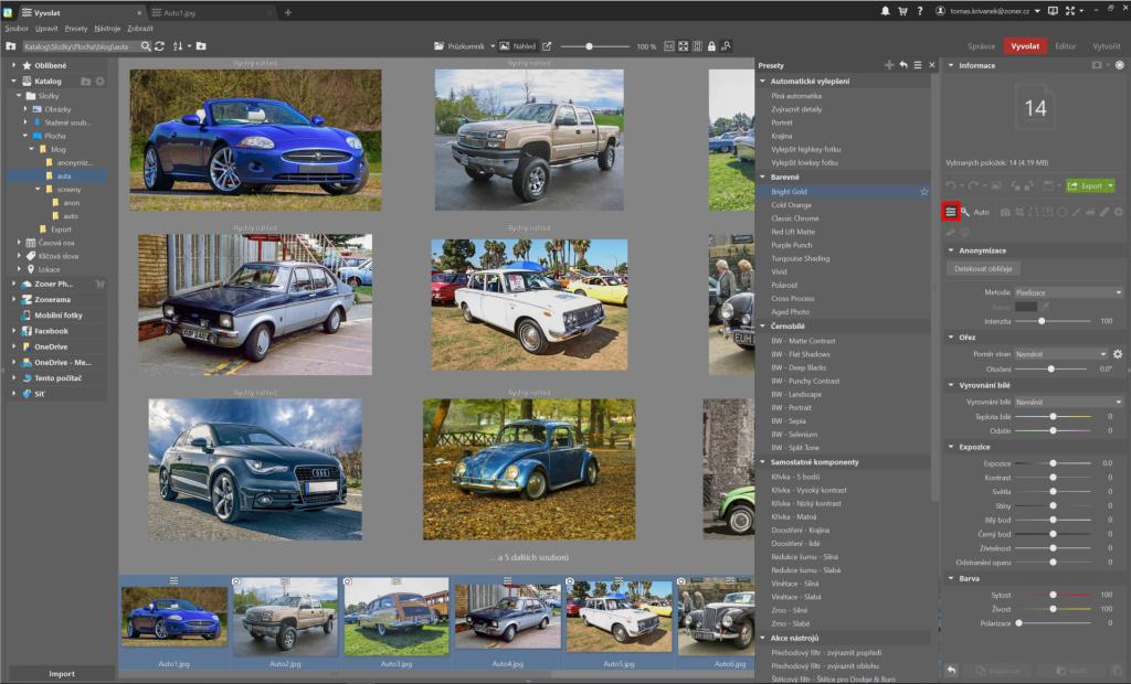 Automatická úprava fotografií - presety