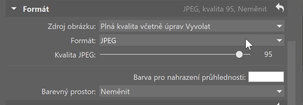 Vylepšený Export - formát