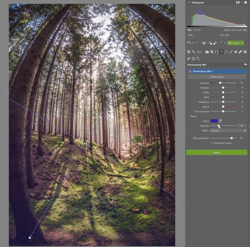 Jak používat přechodový filtr - barevný přechod