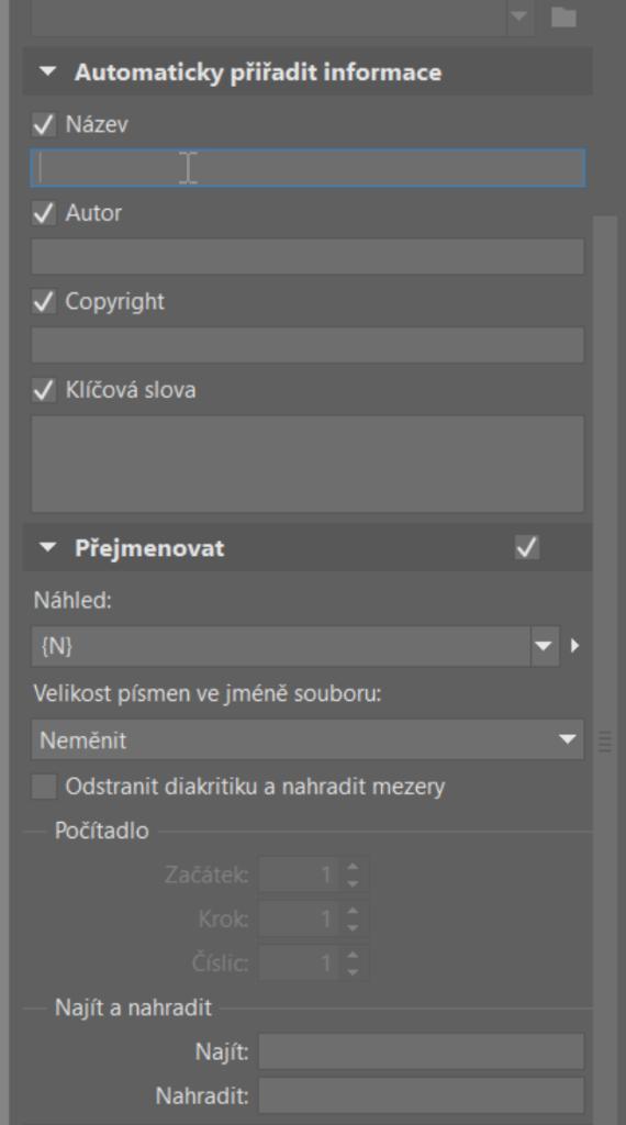 Používejte metadata - import metadat