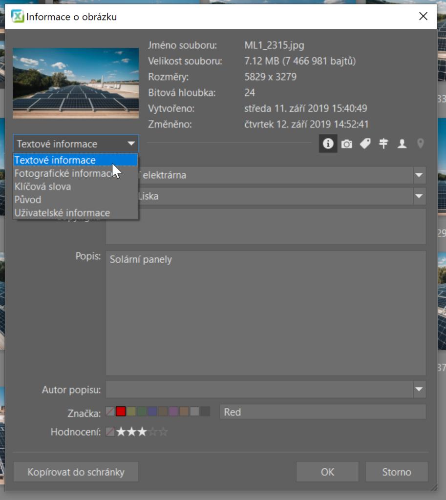Používejte metadata - informace o obrázku