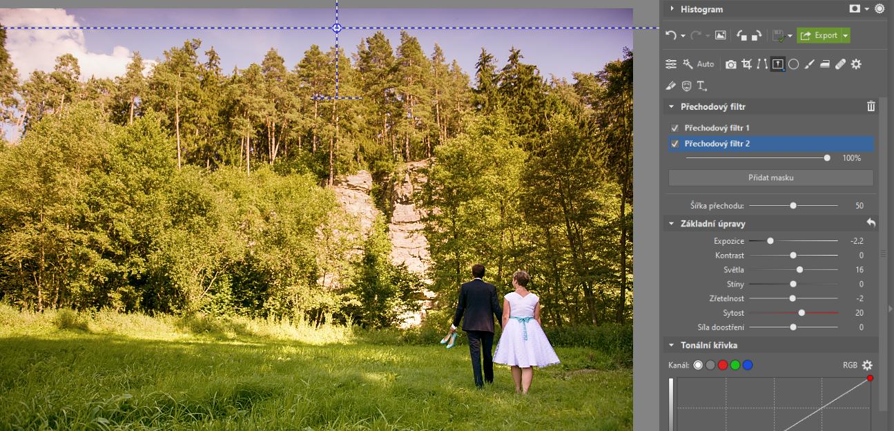 Jak používat přechodový filtr při úpravě fotografií