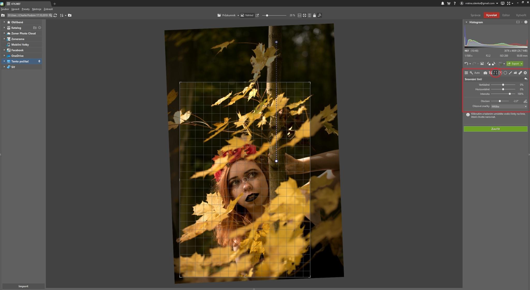 Vyvolání podzimního portrétu krok za krokem - ořez