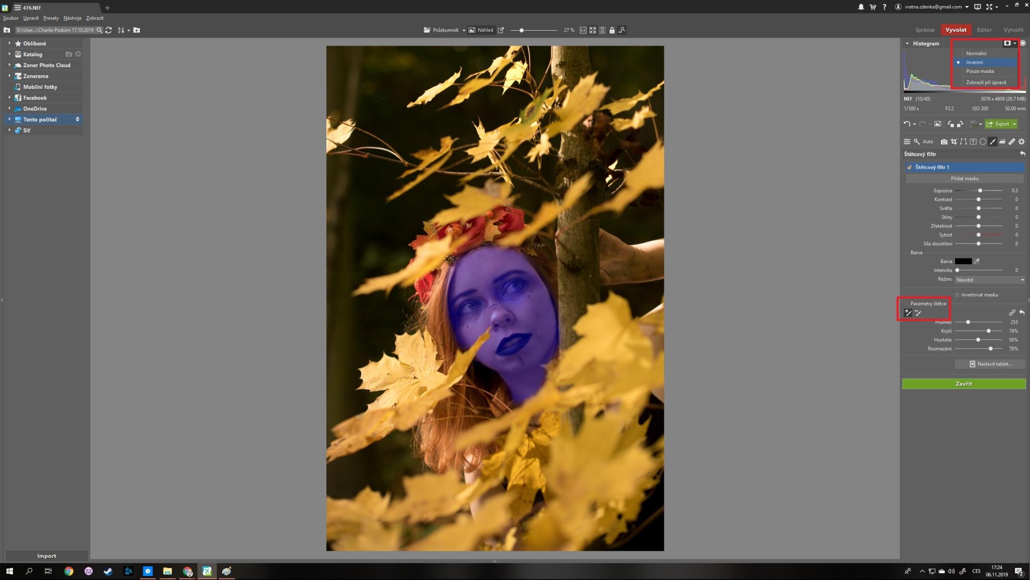Vyvolání podzimního portrétu krok za krokem - zesvětlení tváře
