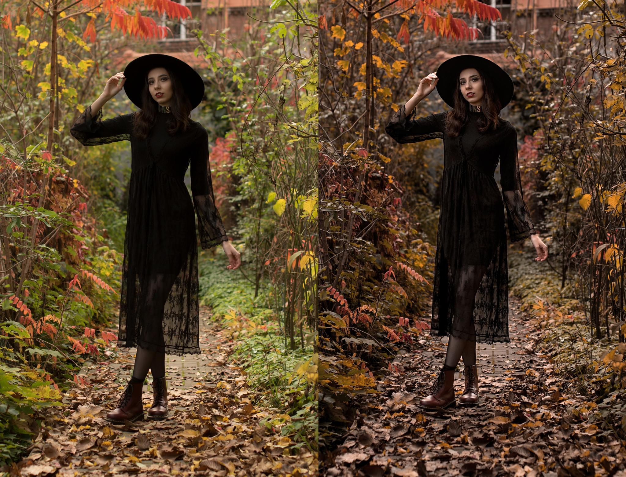 Vyvolání podzimního portrétu - černá barva