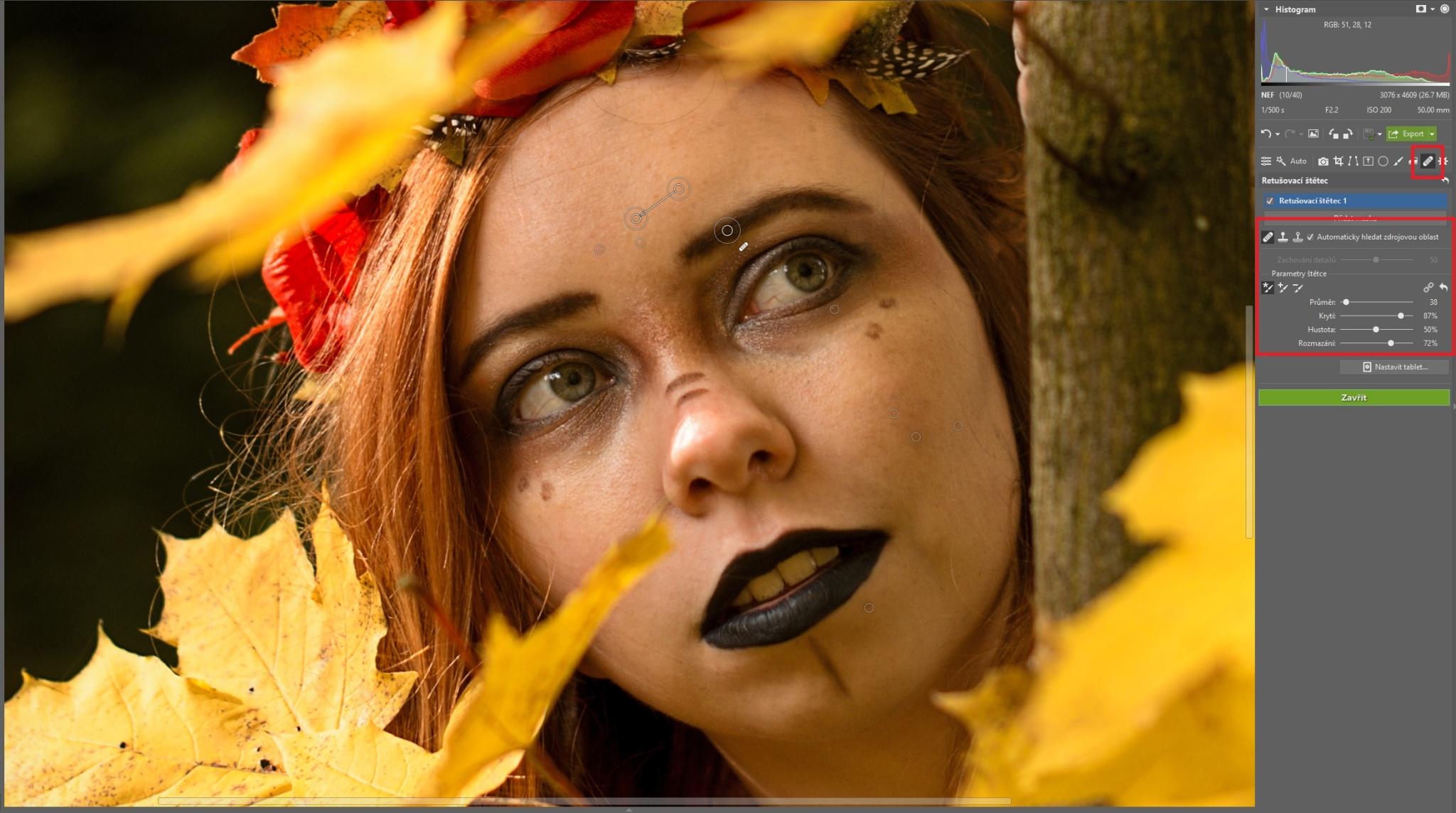 Vyvolání podzimního portrétu krok za krokem - retuše
