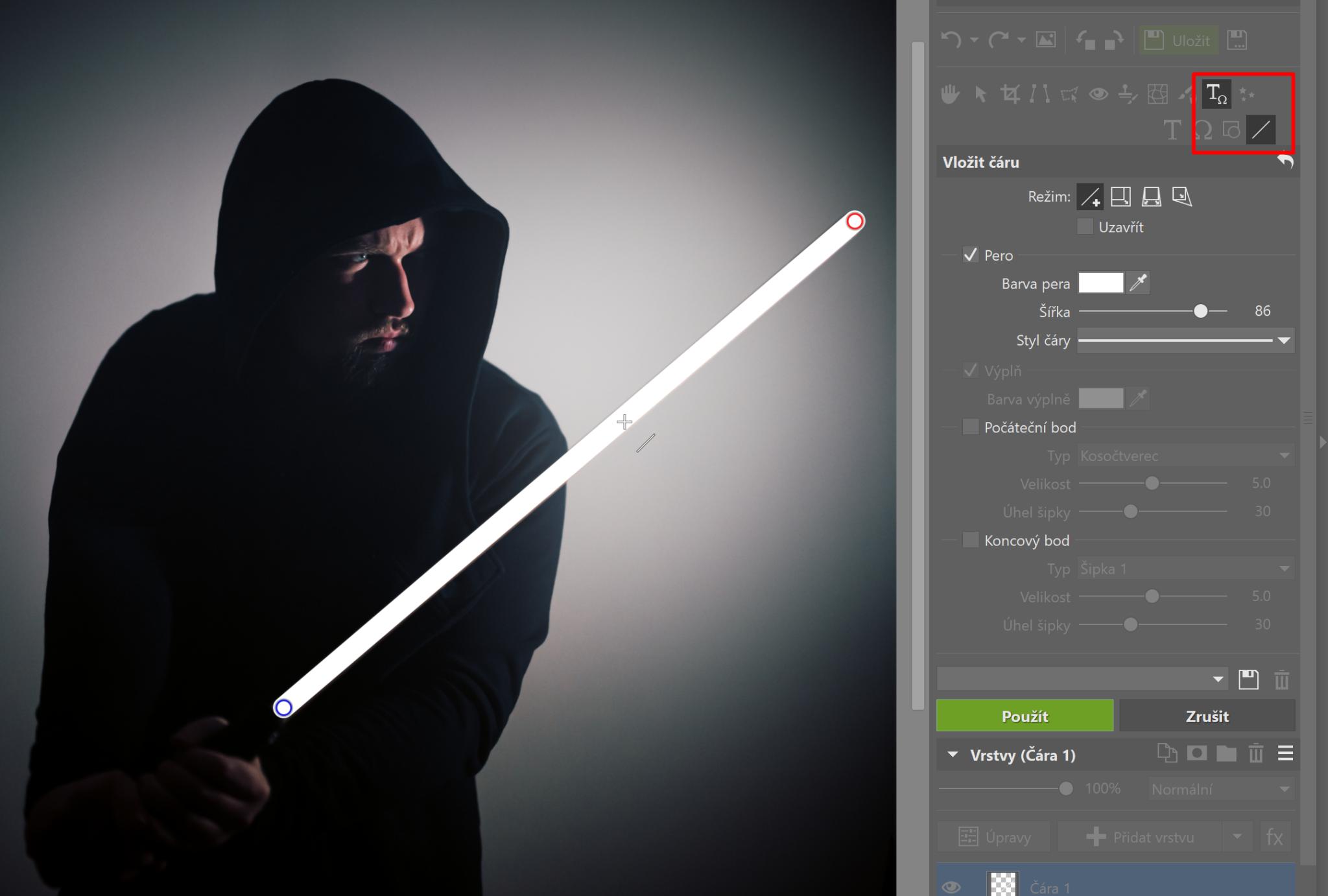 Star Wars speciál: přidejte si do fotky světelný meč - překrývání tyče čárou