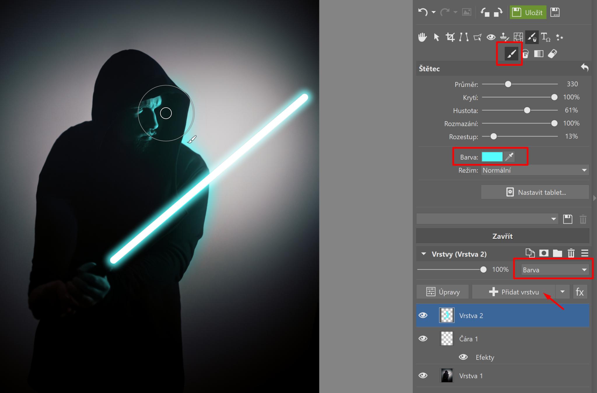Star Wars speciál: přidejte si do fotky světelný meč - doplnění světla, které vrhá meč