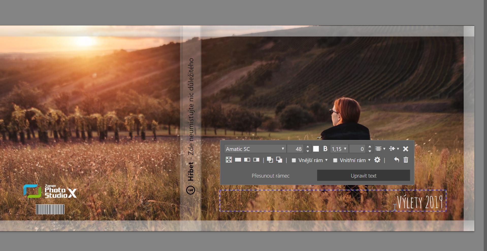 Jak vytvořit vlastní fotoknihu - úprava textu