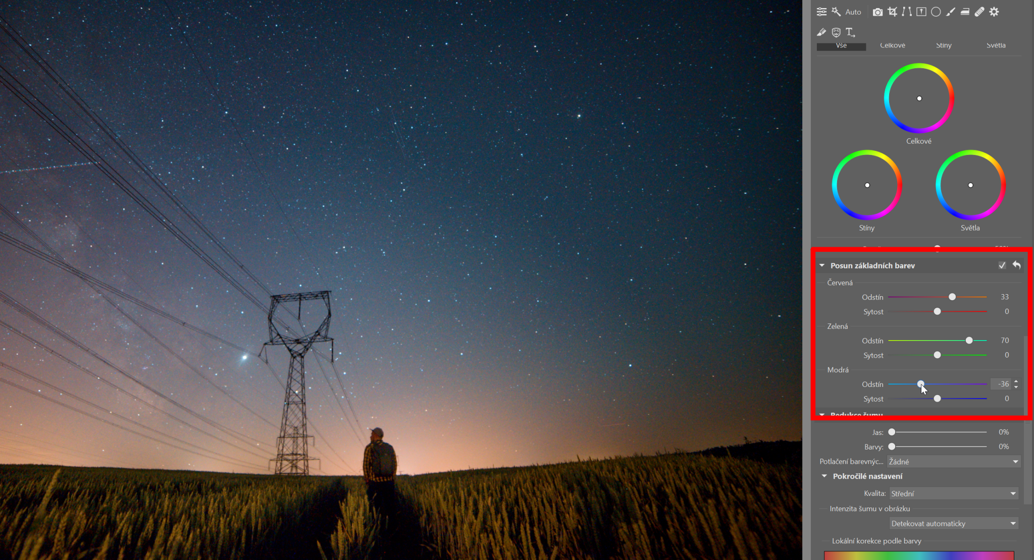 Fotky noční oblohy: barvy