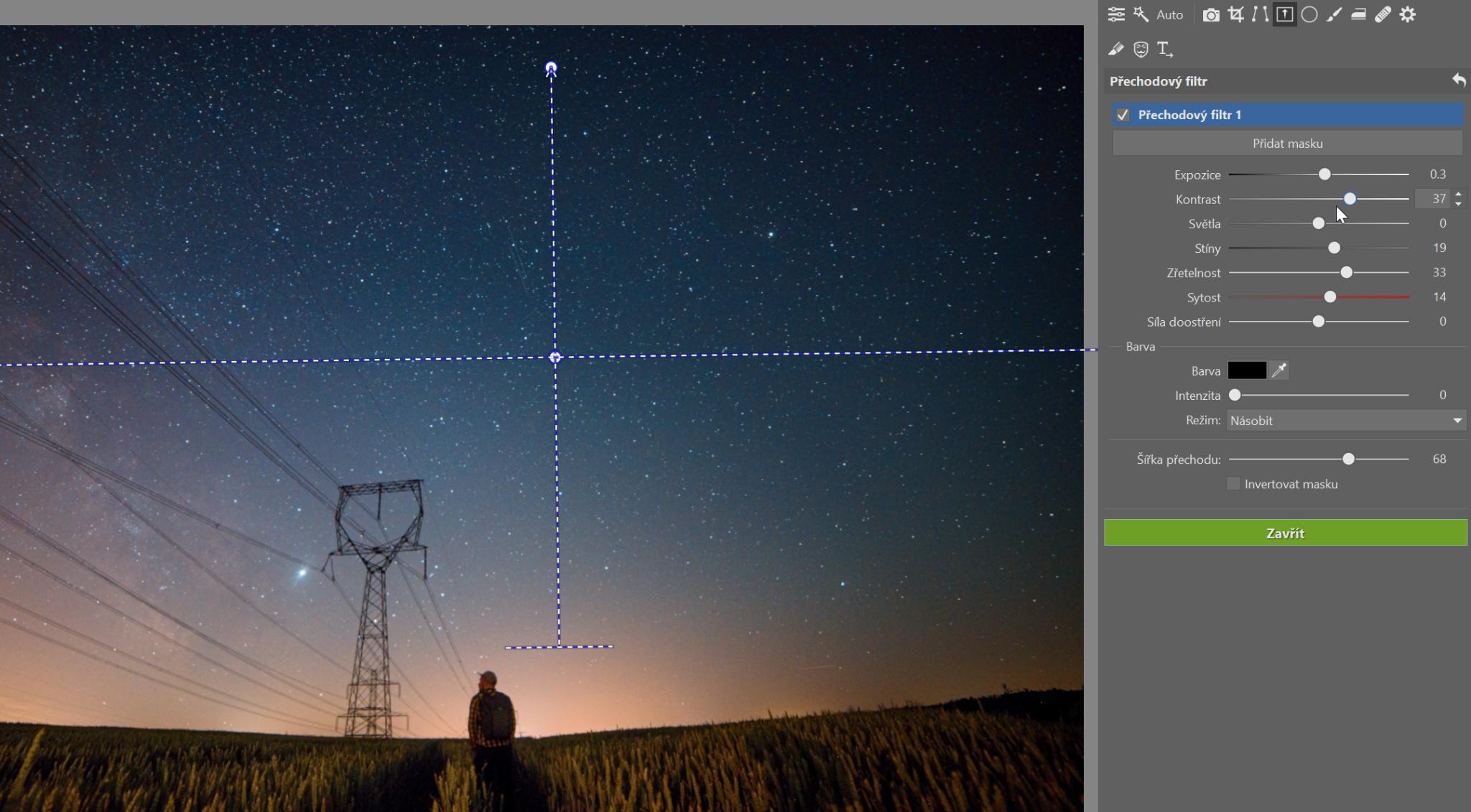 Fotky noční oblohy: přechod