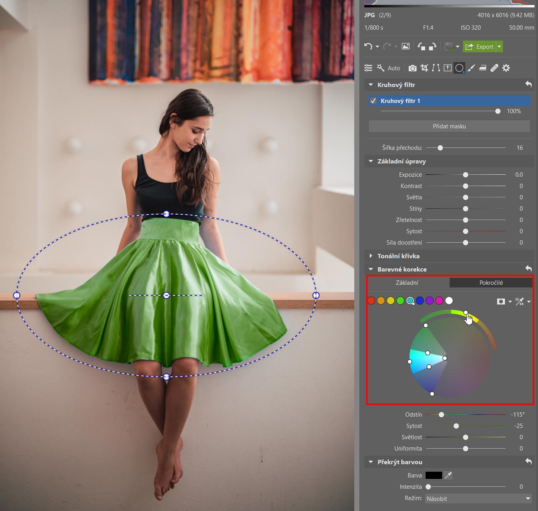 Upravujte barvy i lokálně - změna barvy dívčiny sukně