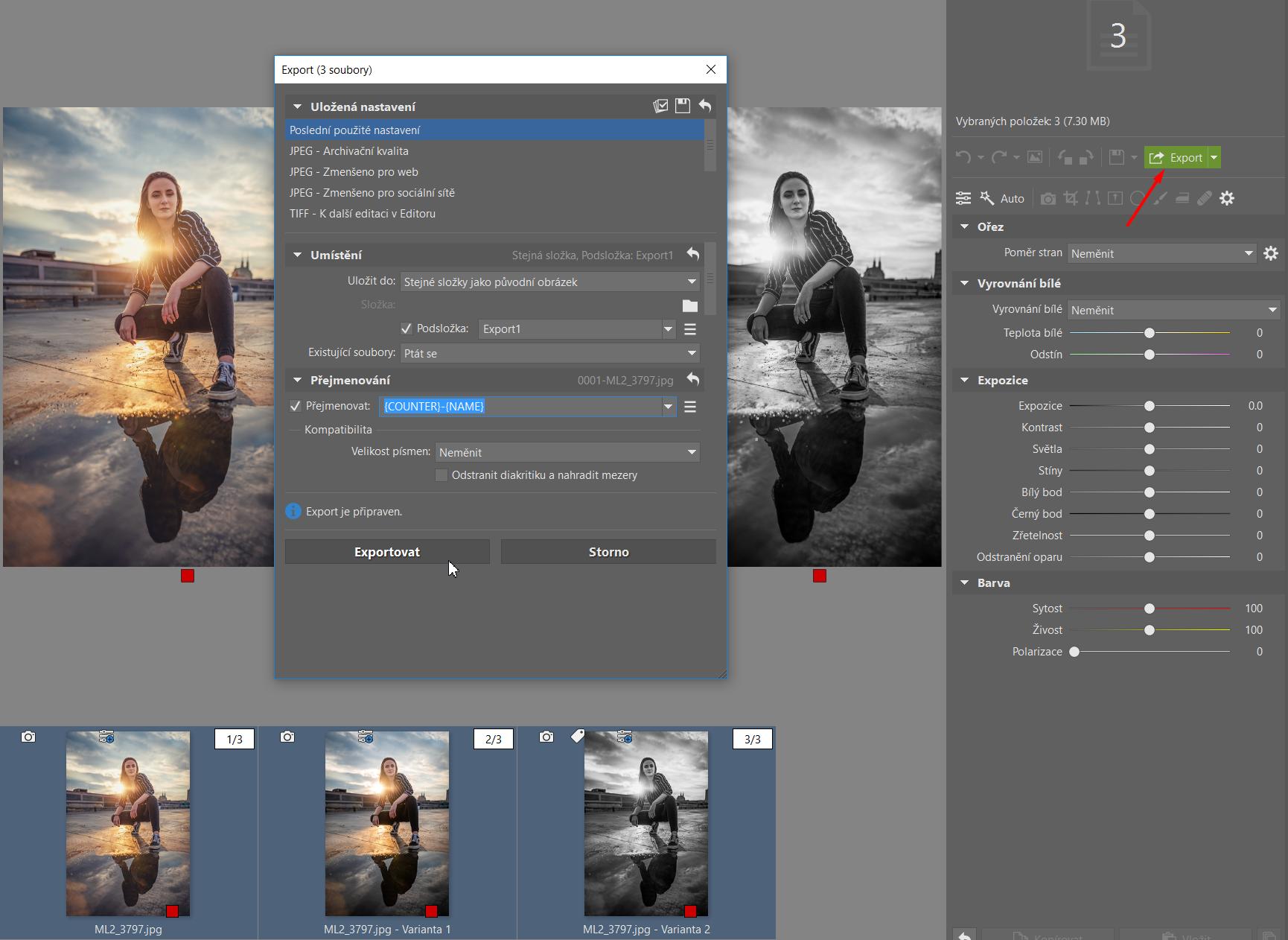 Varianty: vytvořte různé verze úprav jedné fotky - export variant
