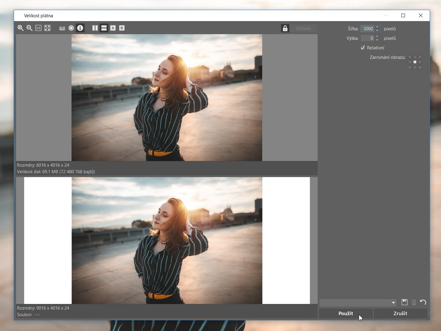 Roztáhněte si fotku do širokého formátu - nastavení rozšíření fotografie
