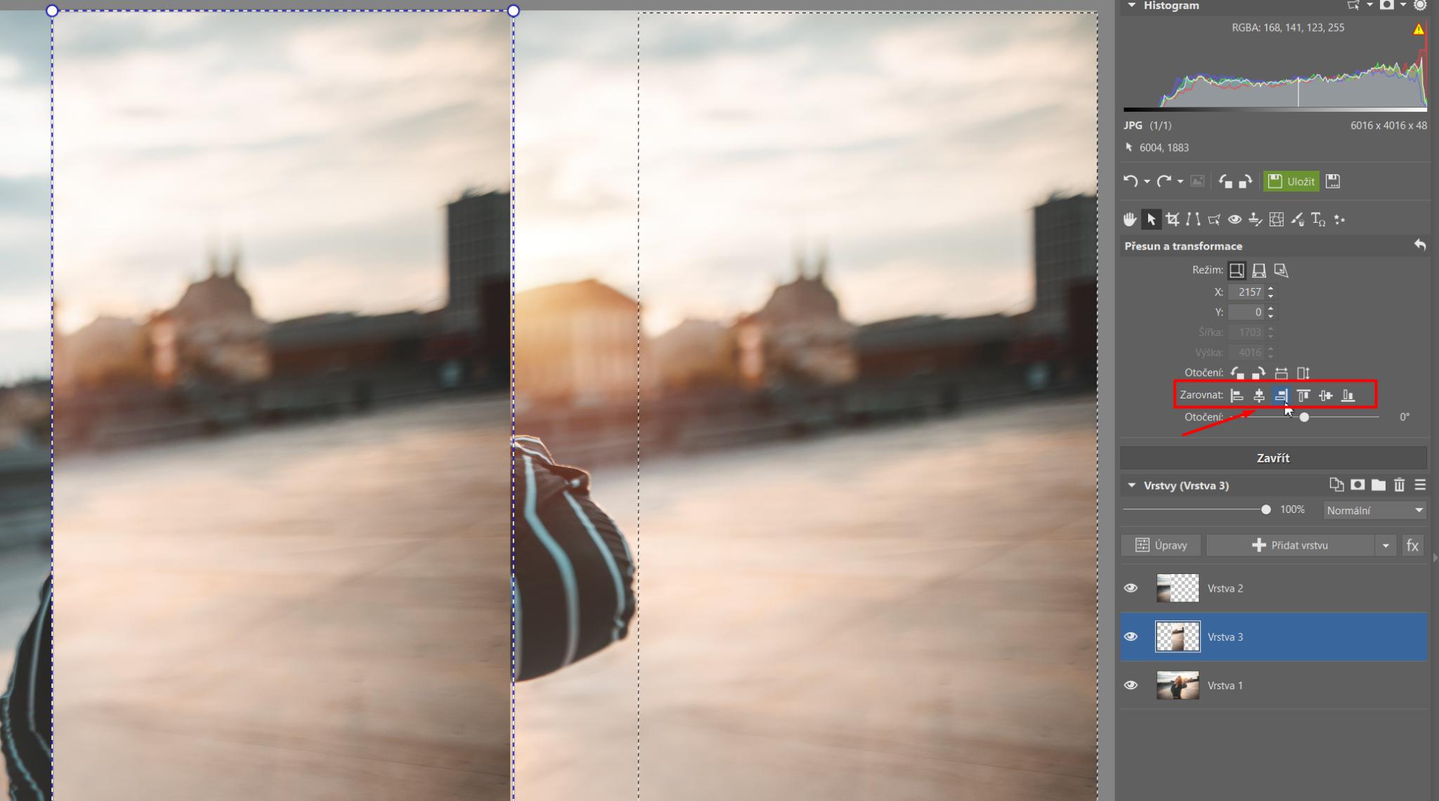 Roztáhněte si fotku do širokého formátu - zarovnání vrstvy ke kraji