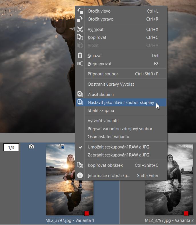 Varianty: vytvořte různé verze úprav jedné fotky - nastavení varianty jako zdrojové fotky