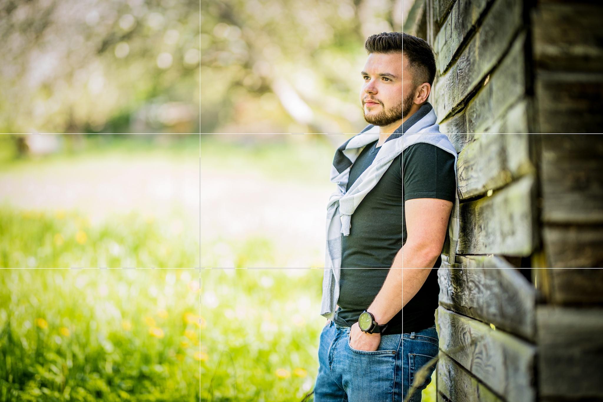 Mužský portrét: jak fotit muže - pravidlo třetin mřížka