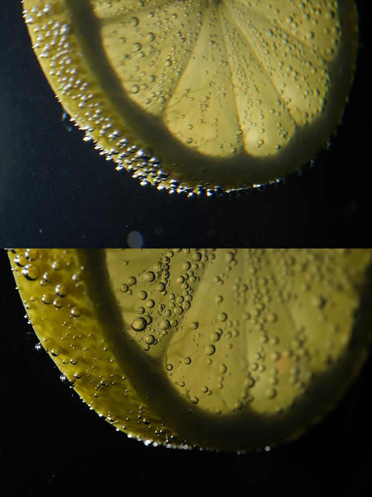 Focení předmětů v perlivé vodě